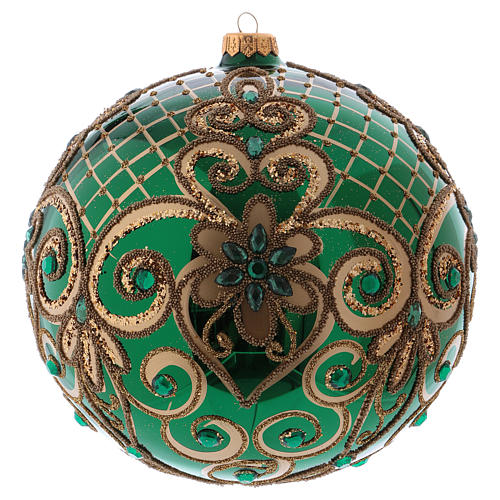 Christmas ball in blown glass 200 mm, green with golden flower decoration 1