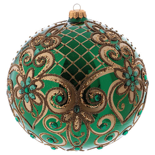 Christmas ball in blown glass 200 mm, green with golden flower decoration 2