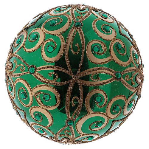 Christmas ball in blown glass 200 mm, green with golden flower decoration 3