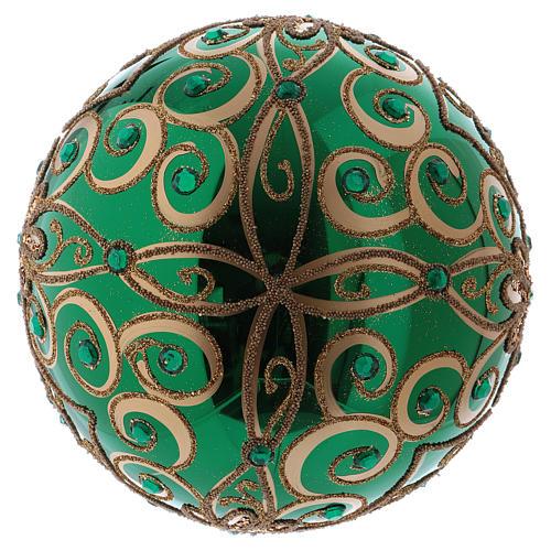 Bola Navidad vidrio soplado 200 mm verde motivos florales dorados 3