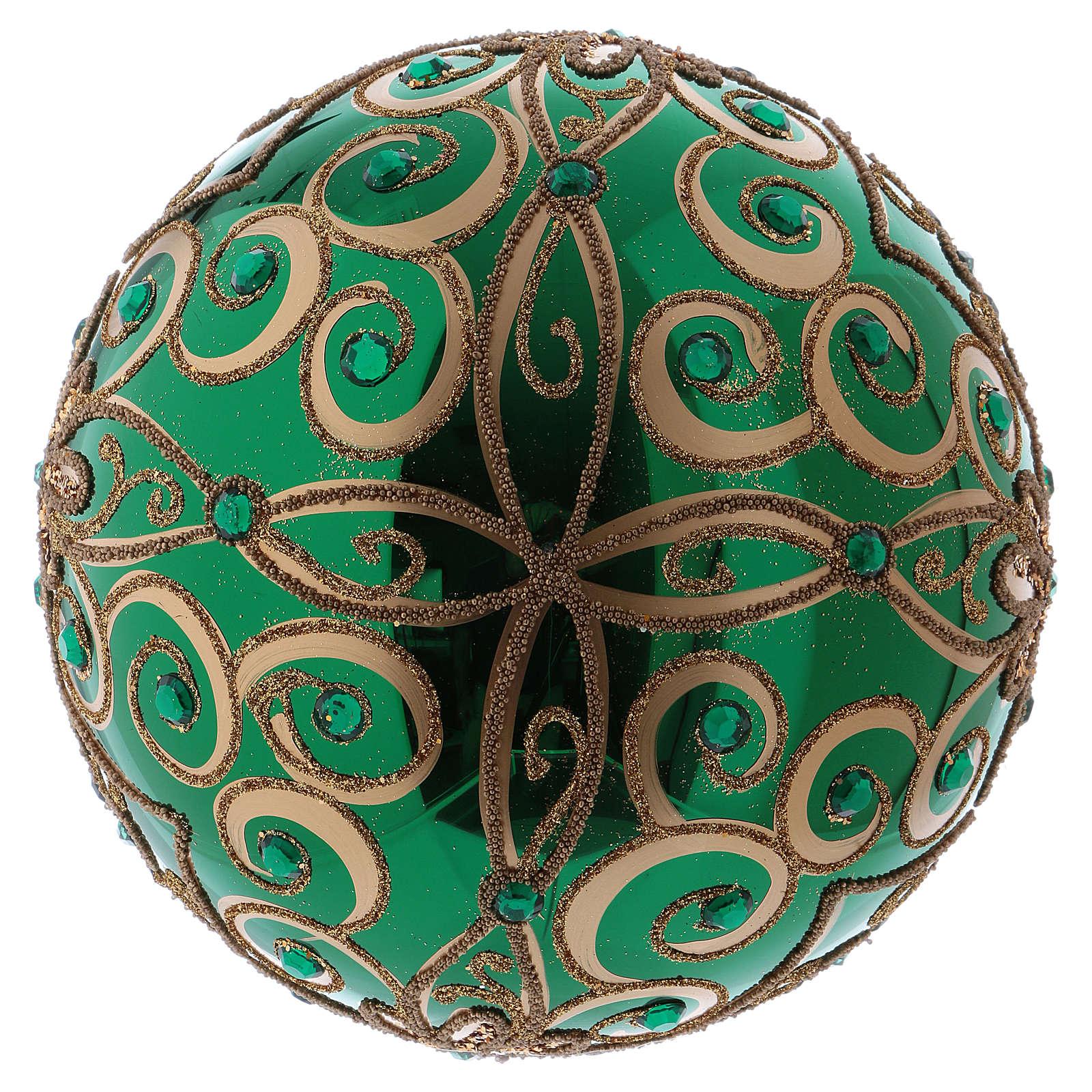 Boule de Noël verre soufflé 200 mm verte décorations florales dorées 4