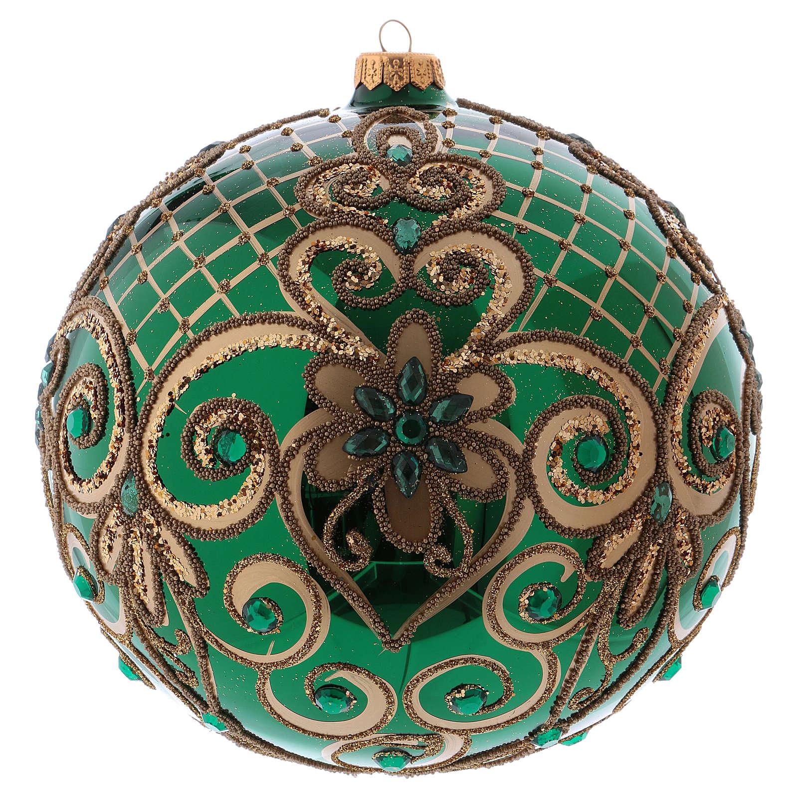 Palla Natale vetro soffiato 200 mm verde decori floreali dorati 4