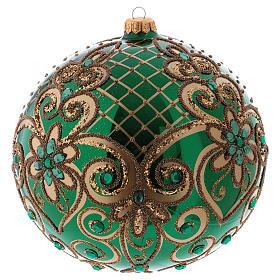 Palla Natale vetro soffiato 200 mm verde decori floreali dorati s2