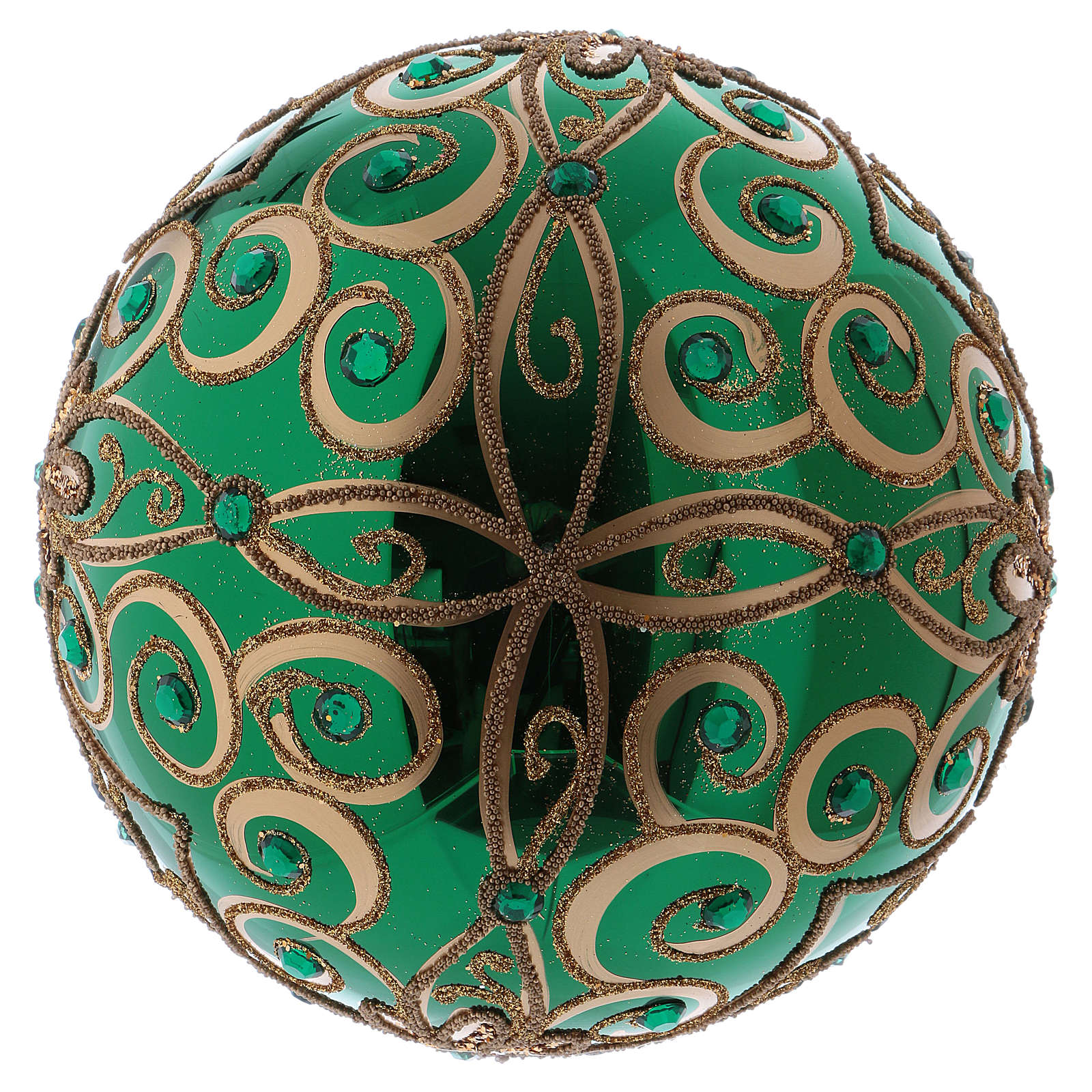 Green blown glass ball with gold floral design 20 cm 4