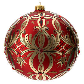 Christmas ball in blown glass 200 mm, red with golden flower decoration s1