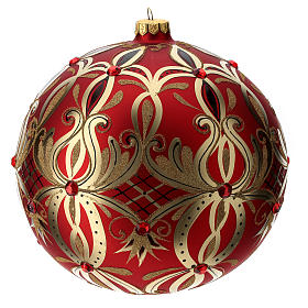Christmas ball in blown glass 200 mm, red with golden flower decoration s3