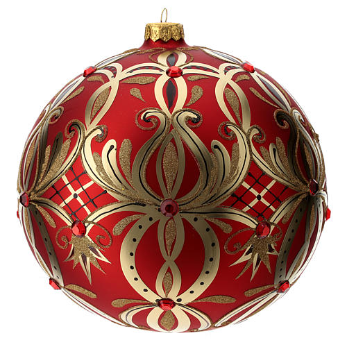 Christmas ball in blown glass 200 mm, red with golden flower decoration 1