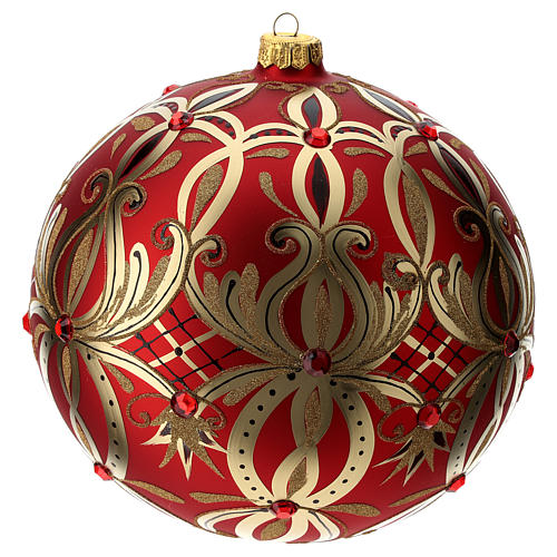 Christmas ball in blown glass 200 mm, red with golden flower decoration 2