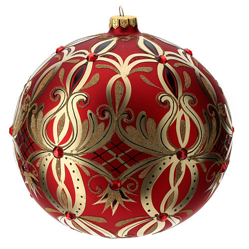 Christmas ball in blown glass 200 mm, red with golden flower decoration 3