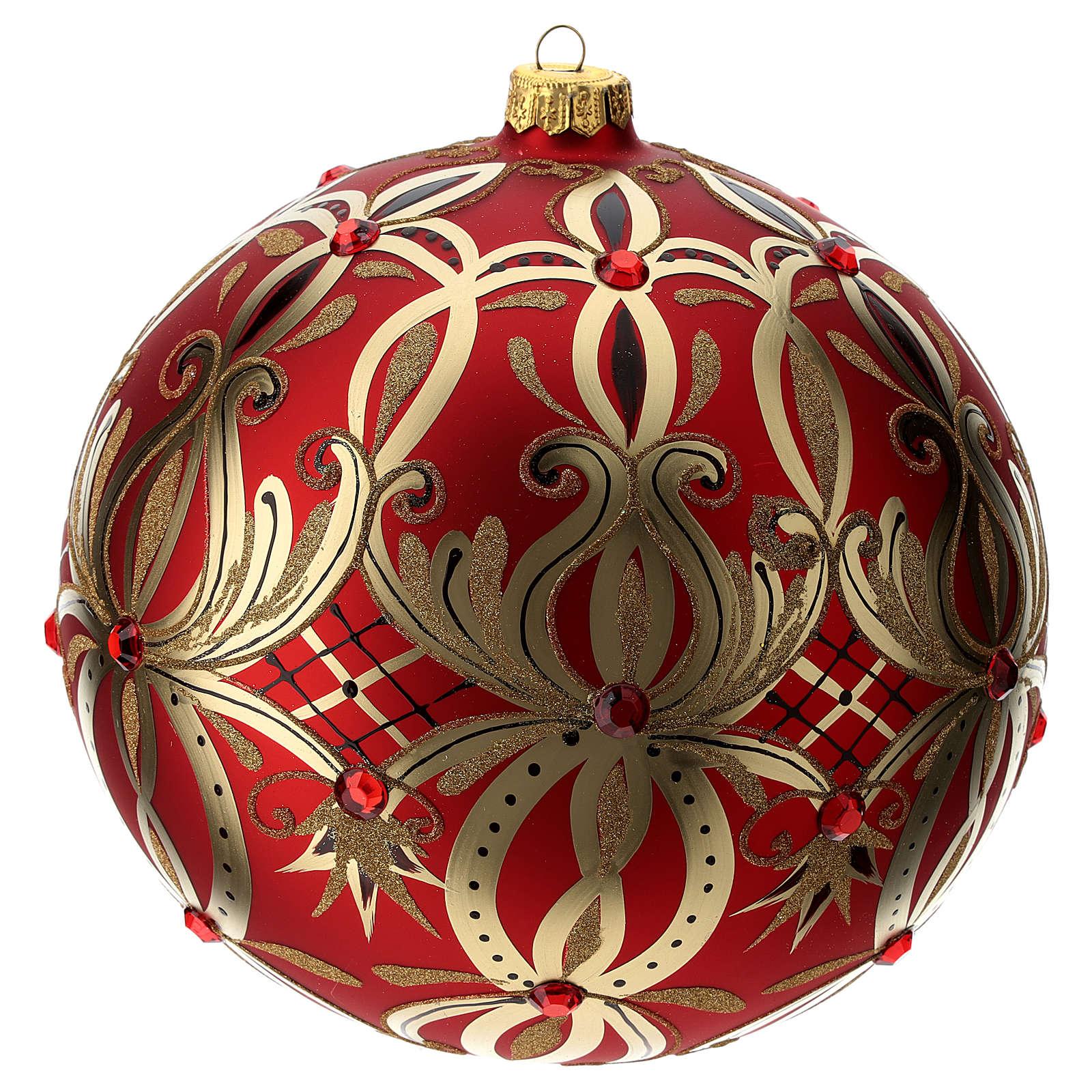 Bola Navidad vidrio soplado 200 mm roja motivos flores doradas 4