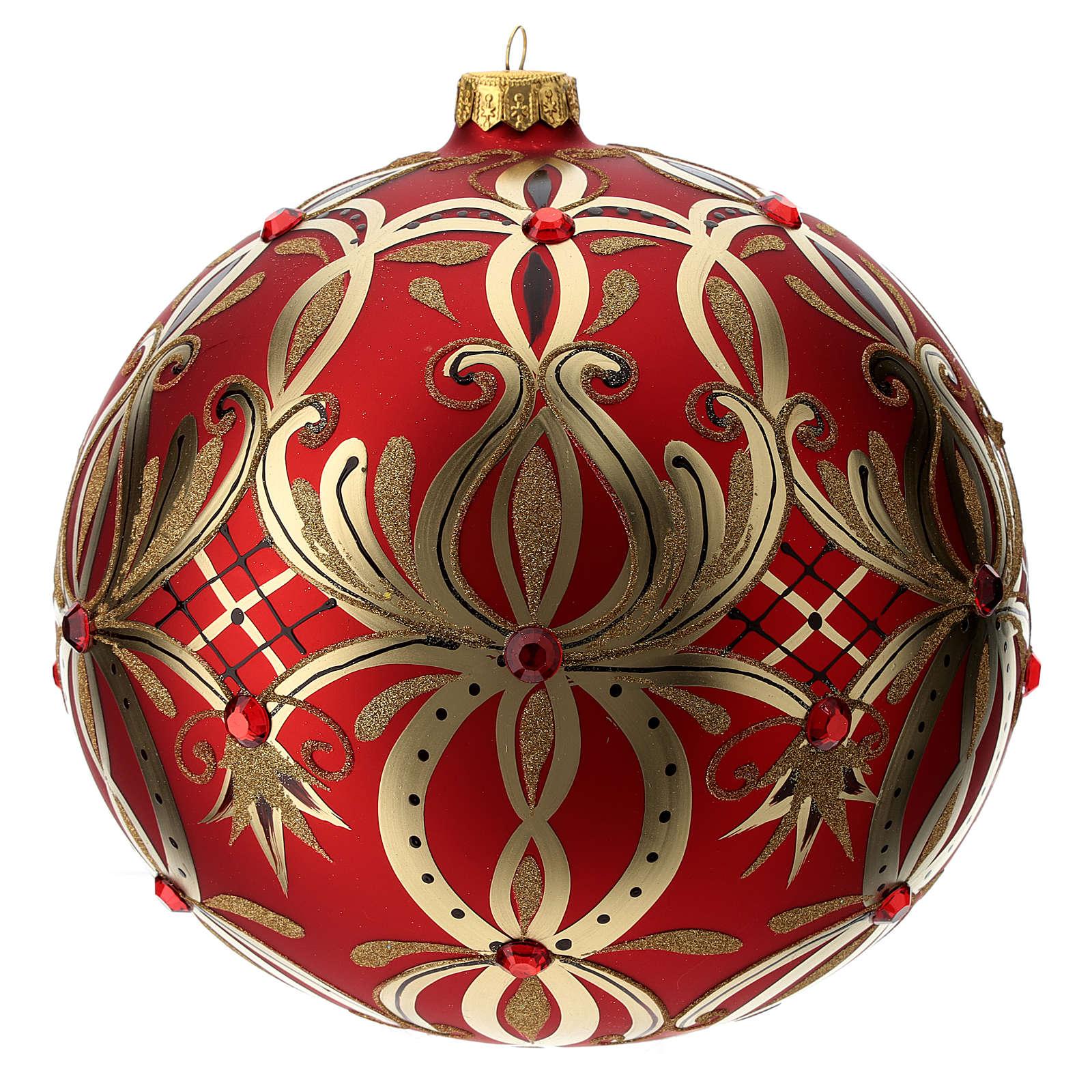 Palla Natale vetro soffiato 200 mm rossa decori fiori dorati 4