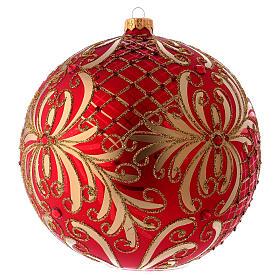 Palla Natale vetro soffiato 200 mm rossa decori fiori dorati s2