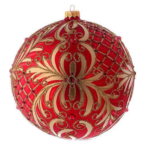 Palla Natale vetro soffiato 200 mm rossa decori fiori dorati 1