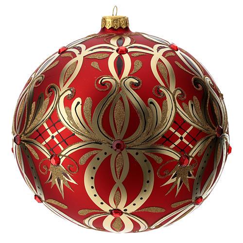 Bola Natal vidro soprado 200 mm vermelha motivo floral dourado 1