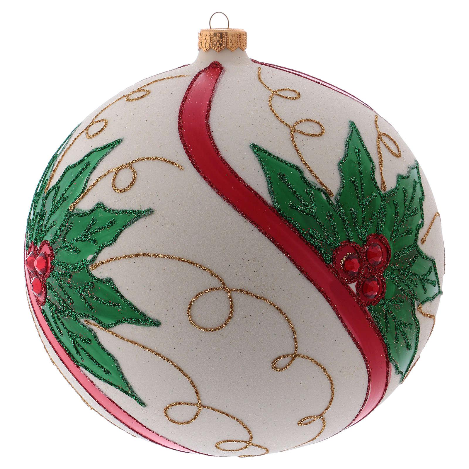 Weihnachtsbaumkugel aus mundgeblasenem Glas Grundton Cremeweiß mit Stechpalmenmotiv 200 mm 4