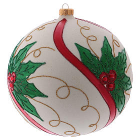 Christmas ball in blown glass 200 mm, cream coloured with holly decoration s2