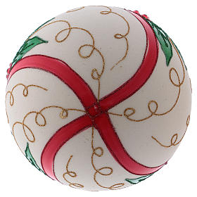 Christmas ball in blown glass 200 mm, cream coloured with holly decoration s3