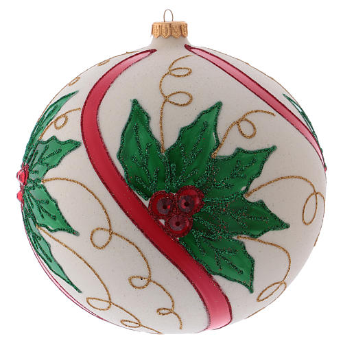 Christmas ball in blown glass 200 mm, cream coloured with holly decoration 1