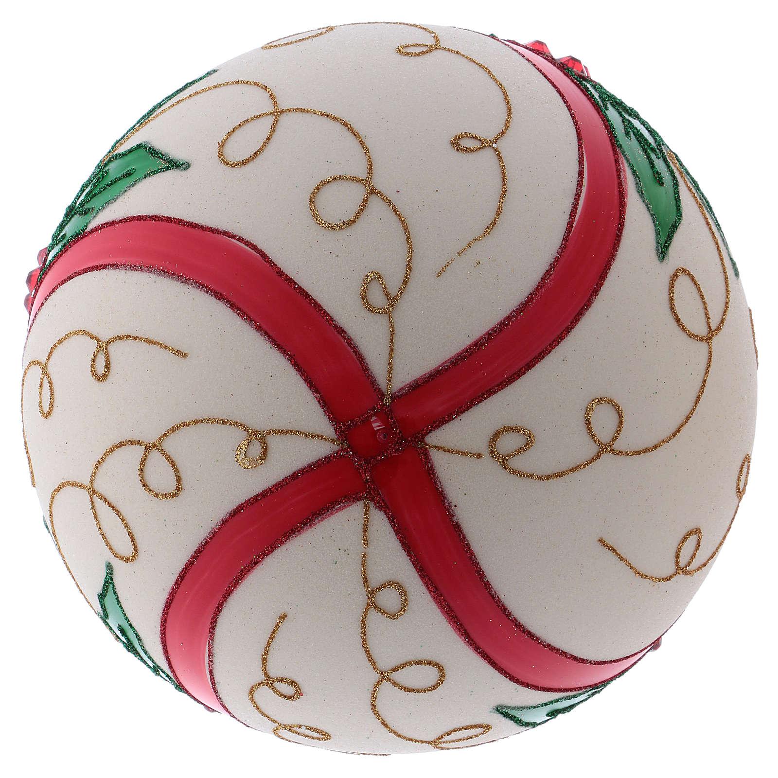 Palla Natale 200 mm vetro soffiato color panna agrifoglio 4