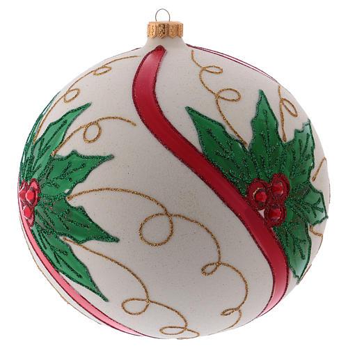 Palla Natale 200 mm vetro soffiato color panna agrifoglio 2
