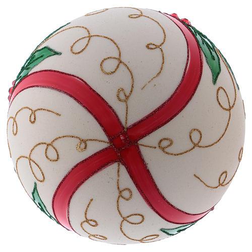 Palla Natale 200 mm vetro soffiato color panna agrifoglio 3