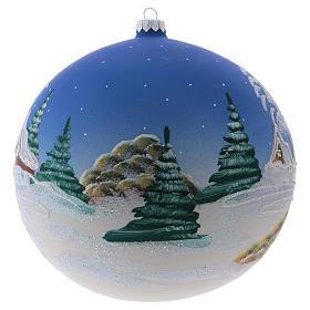 Weihnachtsbaumkugel aus mundgeblasenem Glas Grundton Blau Motiv schneebedecktes nordisches Dorf 200 mm s2