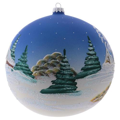 Weihnachtsbaumkugel aus mundgeblasenem Glas Grundton Blau Motiv schneebedecktes nordisches Dorf 200 mm 2