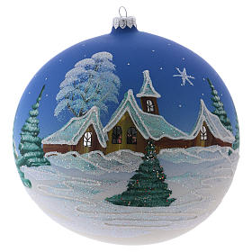 Christmas ball in blown glass 200 mm, snowy nordic village under blue sky s1