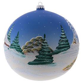 Christmas ball in blown glass 200 mm, snowy nordic village under blue sky s2