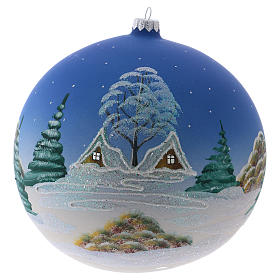 Christmas ball in blown glass 200 mm, snowy nordic village under blue sky s3