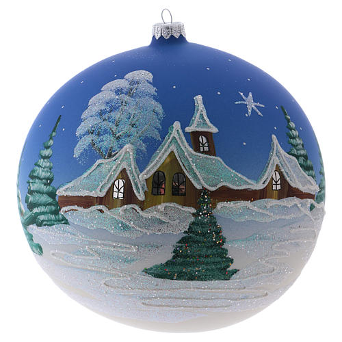 Christmas ball in blown glass 200 mm, snowy nordic village under blue sky 1