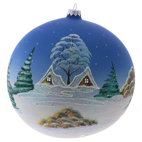 Christmas ball in blown glass 200 mm, snowy nordic village under blue sky 3