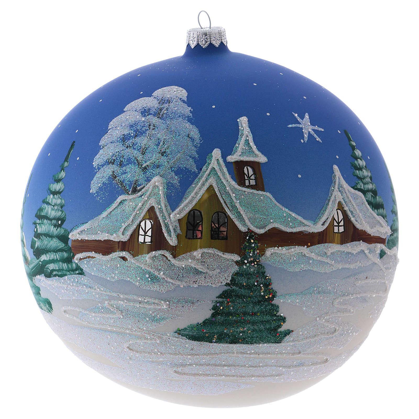 Bola Navidad 200 mm vidrio soplado pueblo nórdico nevado cielo azul 4