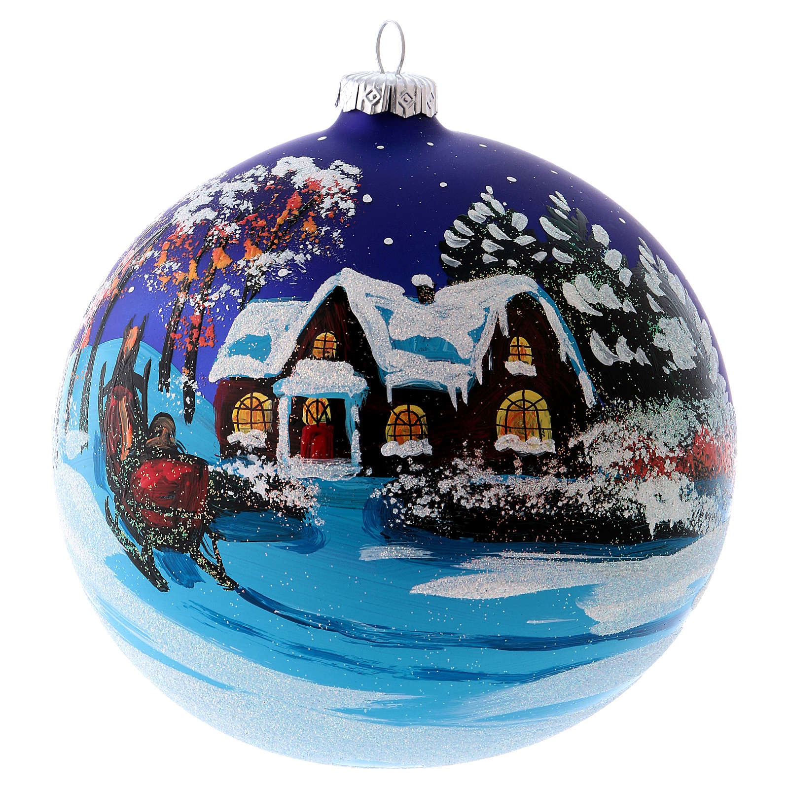 Christmas ball in blown glass 150 mm, snowy landscape at night 4