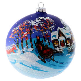 Christmas ball in blown glass 150 mm, snowy landscape at night s5