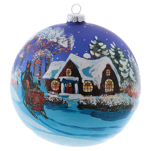 Christmas ball in blown glass 150 mm, snowy landscape at night 1