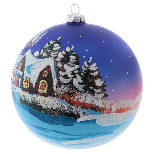 Christmas ball in blown glass 150 mm, snowy landscape at night 2