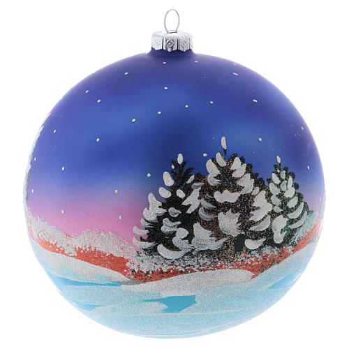 Christmas ball in blown glass 150 mm, snowy landscape at night 3