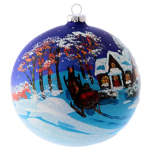 Christmas ball in blown glass 150 mm, snowy landscape at night 5