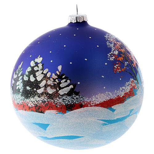 Christmas ball in blown glass 150 mm, snowy landscape at night 6