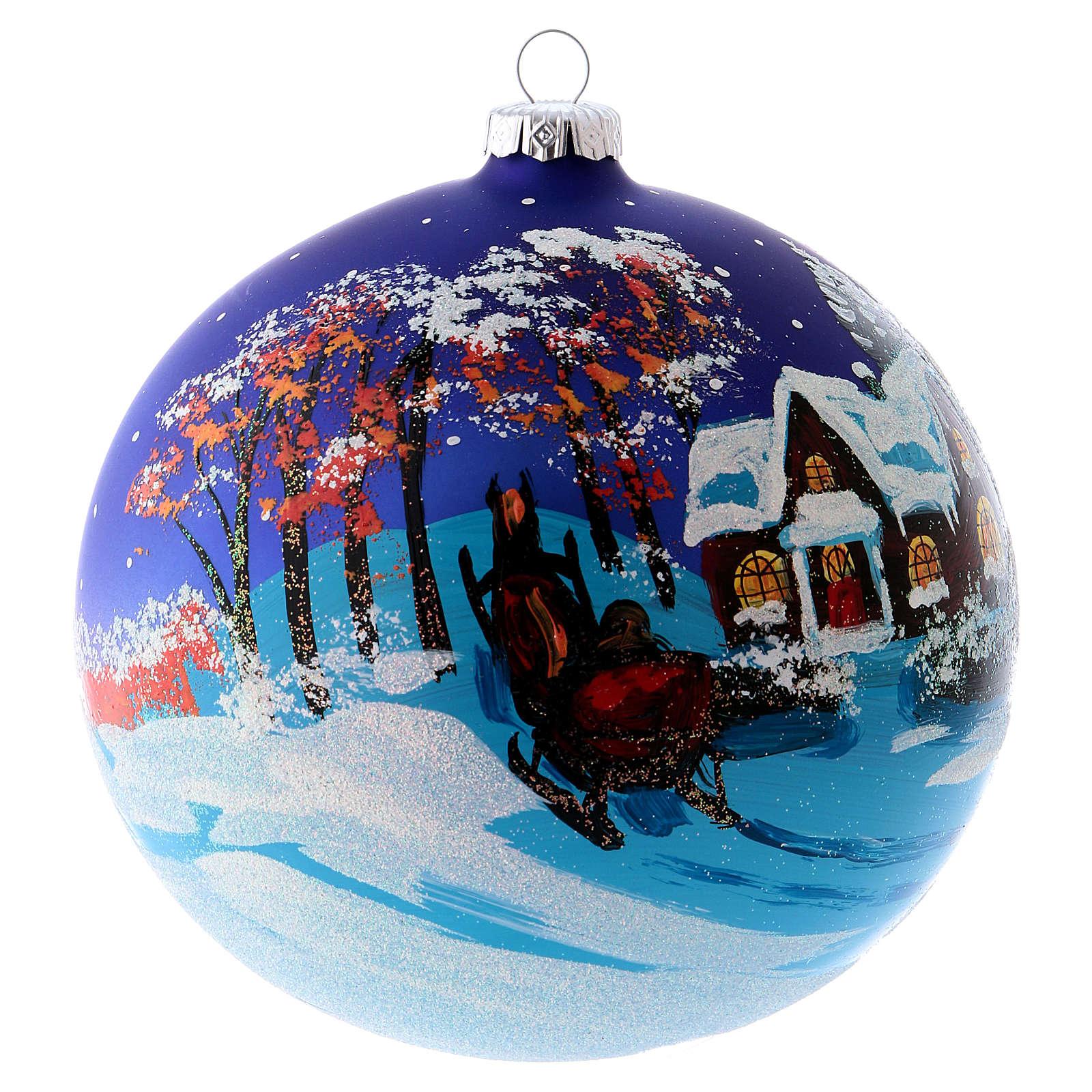 Bola árvore Natal 150 mm vidro soprado paisagem noturna com neve 4