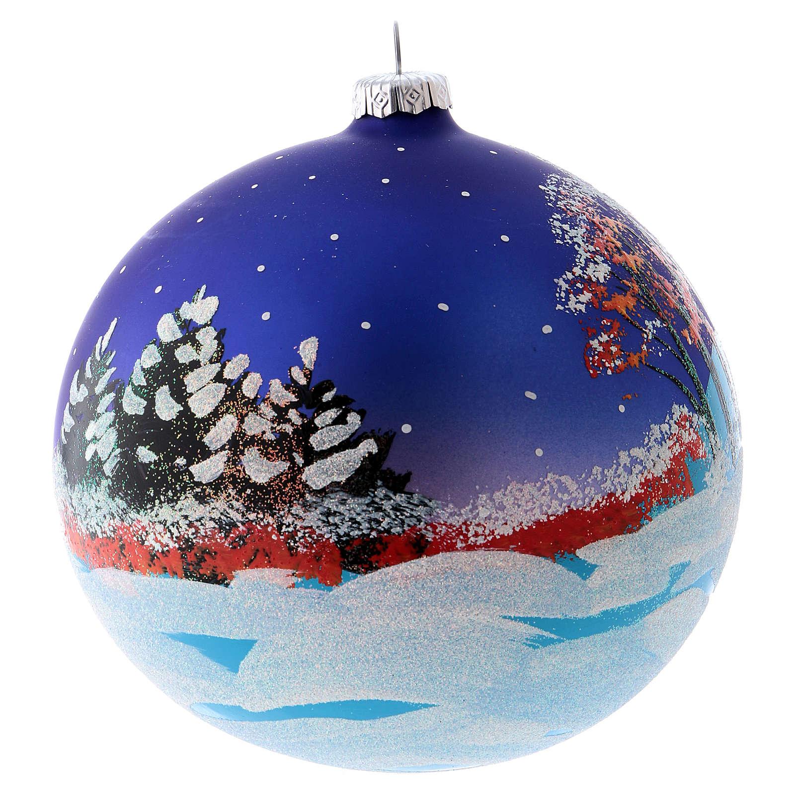 Blown glass ball Christmas ornament with night snowy scene 15 cm 4
