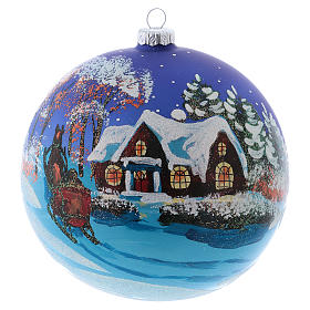 Blown glass ball Christmas ornament with night snowy scene 15 cm s1