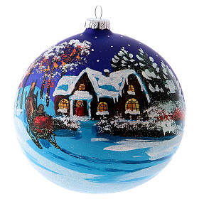 Blown glass ball Christmas ornament with night snowy scene 15 cm s4