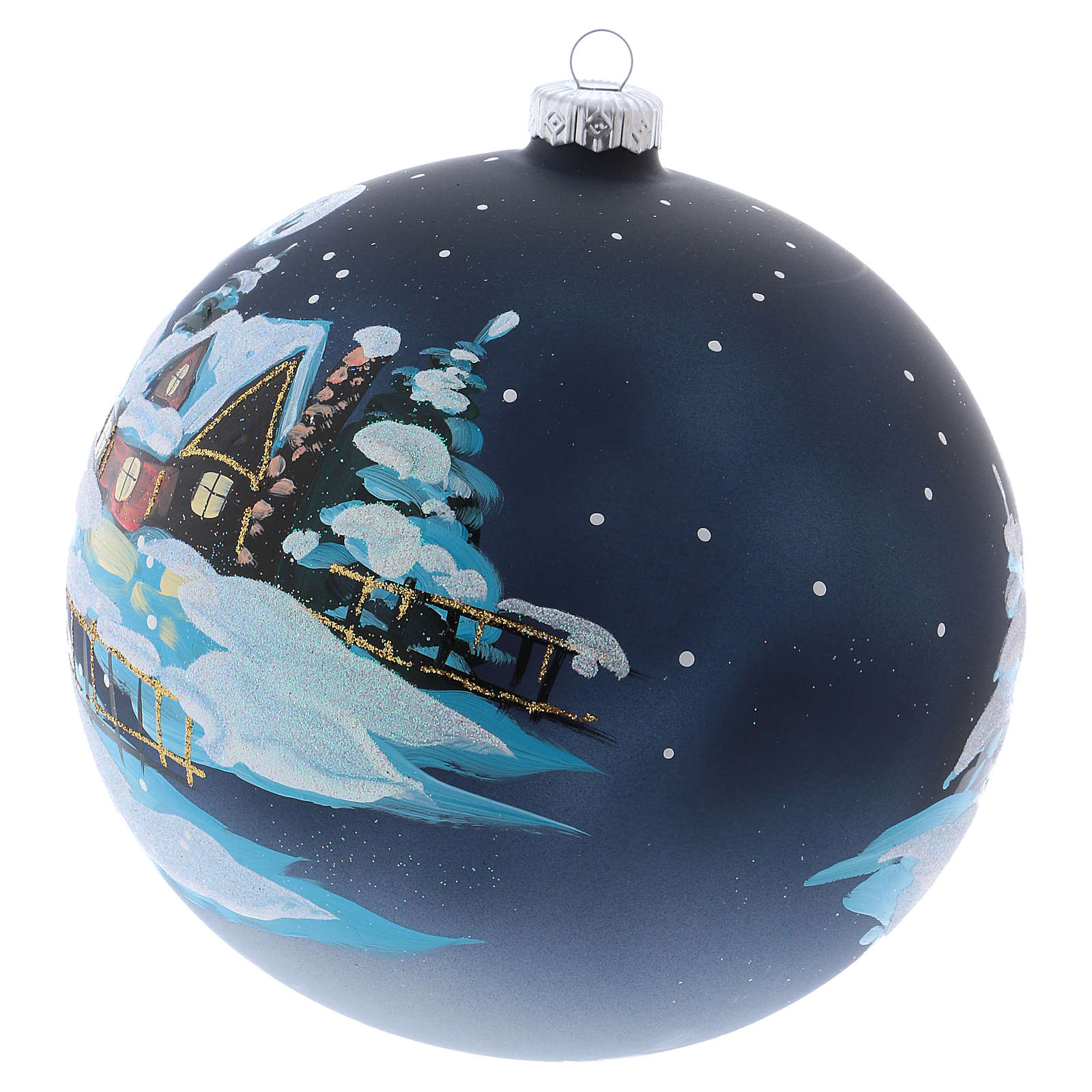 Christmas ball in blown glass 150 mm, snowy mountain village at night 4
