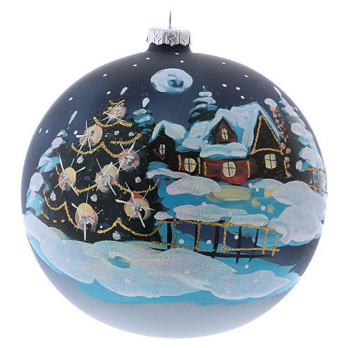 Christmas ball in blown glass 150 mm, snowy mountain village at night 1
