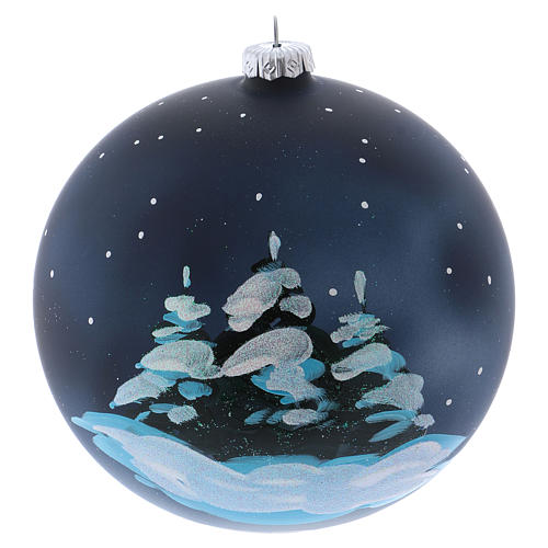 Christmas ball in blown glass 150 mm, snowy mountain village at night 3