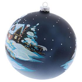 Boule Noël 150 mm verre soufflé village alpin enneigé nocturne s2