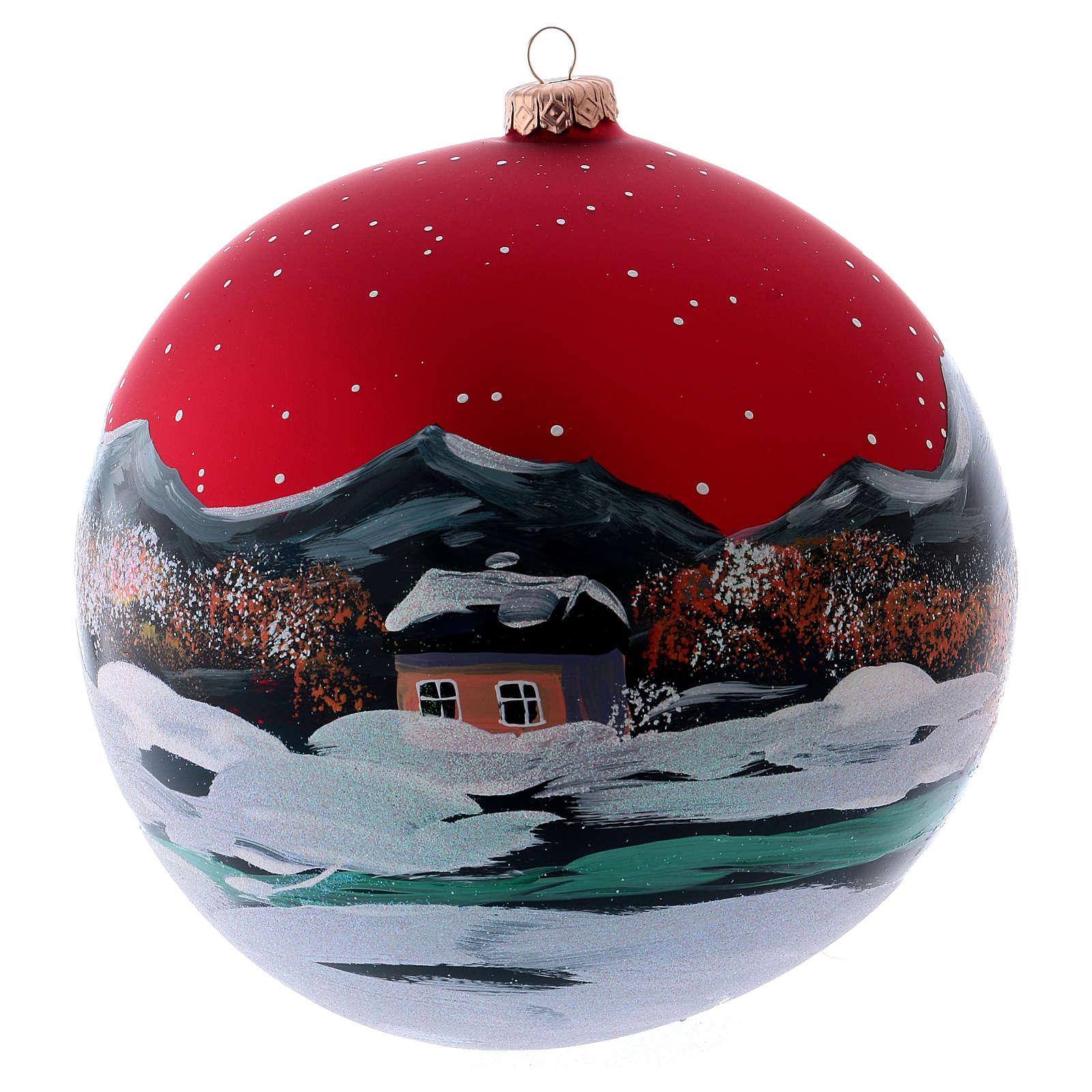 Boule Noël 200 mm village nordique enneigé ciel rouge verre soufflé 4