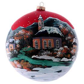 Boule Noël 200 mm village nordique enneigé ciel rouge verre soufflé s1